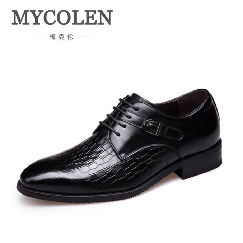MYCOLEN Lace-Up Brown Handmade Genuine Calf Leather Breathable Derby Men Flats Business Dress Shoes Sapato Masculino Social mycolen fashion brand men shoes winter handsome business casual shoes breathable men s leather shoes man derby sapato social