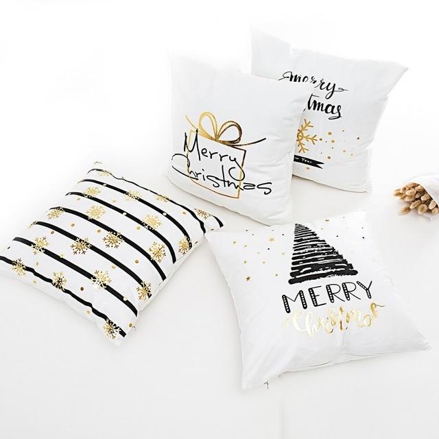 Frigg Merry Christmas Cushion Cover Gold Linen Cotton Soft Cute Cushion Covers Santa Xmas Decorative Sofa Pillow Case Pillowcase