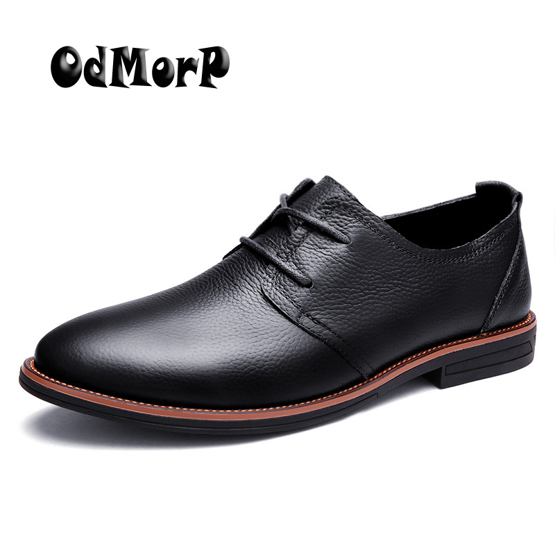 ODMORP Men Shoes Genuine Leather Lace Up Business Man Shoes Black Oxfords Men's Casual Dress Shoes High Quality Zapatos Hombre northmarch high quality men white leather shoes high top men s casual shoes breathable man lace up brand shoes