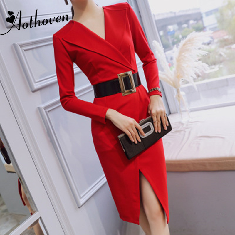 Autumn Women Split Asymmetrical Dress Long Sleeve V neck Dress Sashes Elegant Office Lady Sexy Party