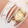 Кристалл камень темперамент ремень дамы браслет роскоши женские кварцевые colock часы кожа мода наручные часы reloj mujer