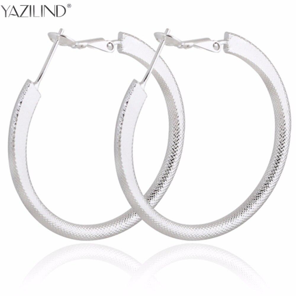 Big Round Earrings Basketball Wives Trendy Silver Color Fashion Jewelry Wholesale Diameter Large Hoop Earrings Women