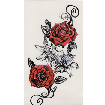 1pcs Watercolor cool henna rose flowers Temporary Body Tattoo Beautiful Shoulder thigh Back Body decor lace owl women body paint 1