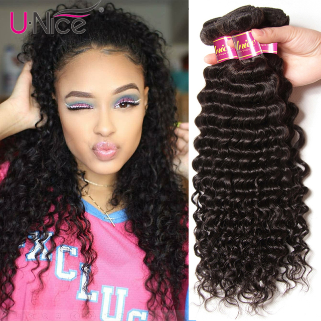 UNice Hair Deep Wave Brazilian Hair Weave Bundles Natural Color Remy Human Hair Weaving 12-26inch 1 Piece Free Shipping
