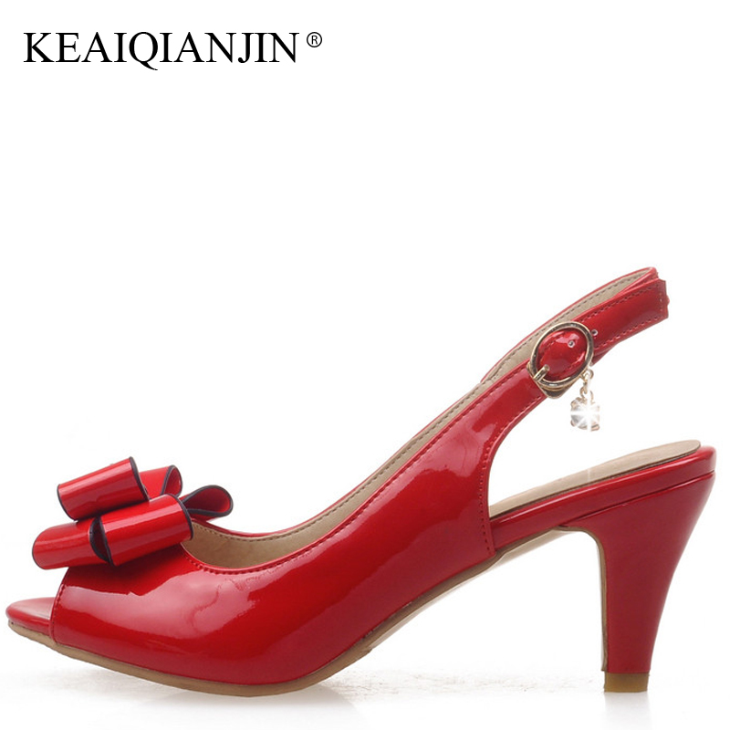 KEAIQIANJIN Woman High Heels Sandals Fashion Sexy White Black Shoes Plus  Size 33 - 43 Butterfly knot Red Wedding Sandals 2018 7a6a7592f9e0