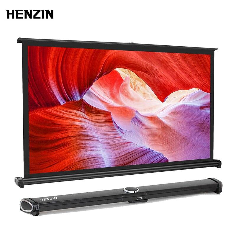 HENZIN 40 pouces 16:9 Mini écran de Projection de Table HD blanc mat écran de Projection de Table Portable pour projecteurs LED/LCD/DLP