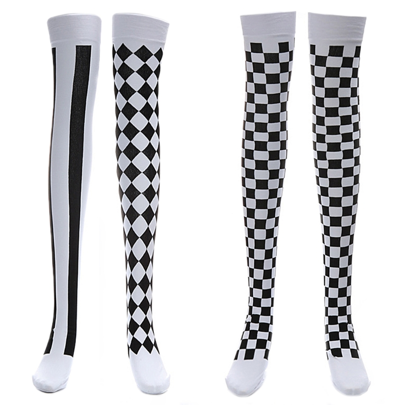 Clown Costume Black White Plaid Knee-High Long Stocking Halloween Carnival Party Stocking
