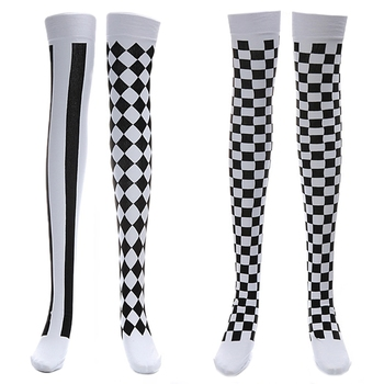 Clown Costume Black White Plaid Knee-High Long Stocking Halloween Carnival Party Stocking high quality carnival circus creepy giggles halloween clown head mask