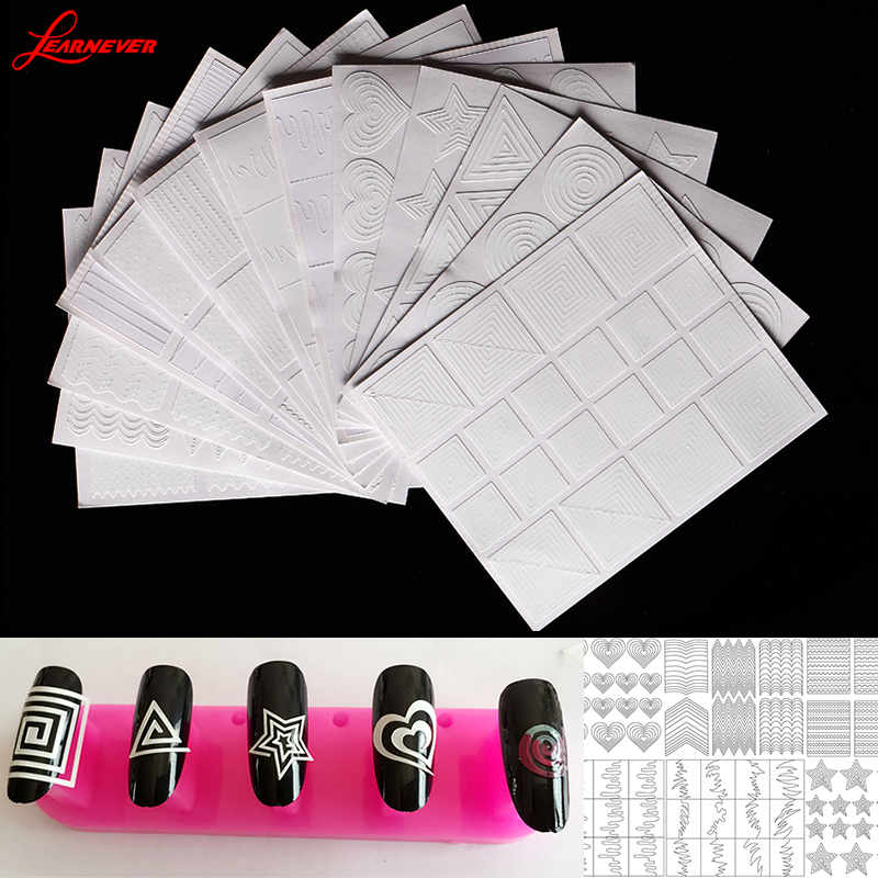 12pc/set Nail Art Tips Hollow Sticker Acryl Crystal Manicure Template 3D Stencil Decals Vorm Styling Tool M02874