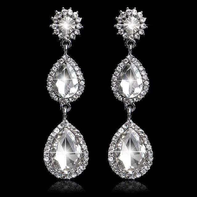 Waterdrop Shape Crystal Bridal Long Drop Earrings For Women Silver Color Wedding Prom Jewelry