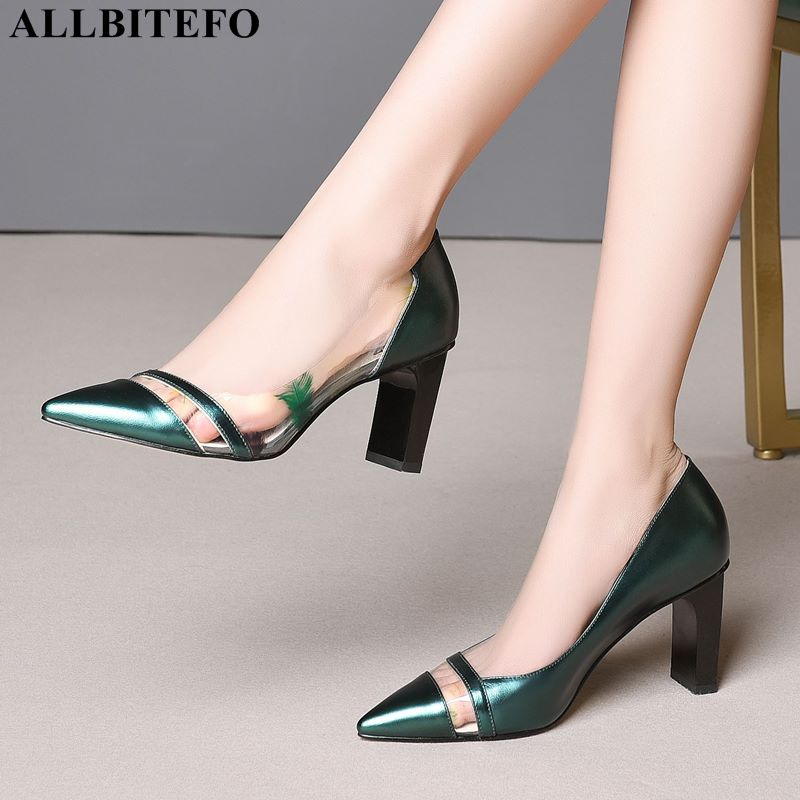 ALLBITEFO large size 33 43 genuine leather sexy high heels women shoes high quality office ladies