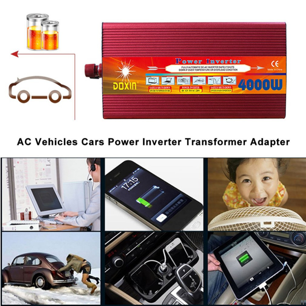 4000W Car Power Converter DC 12V Input Power Inverter Portable Vehicle Power Adapter For Hiking Travelling digital display vehicle 2000w usb car power solar inverter converter 12v dc to ac 220v usb charger adapter portable voltage