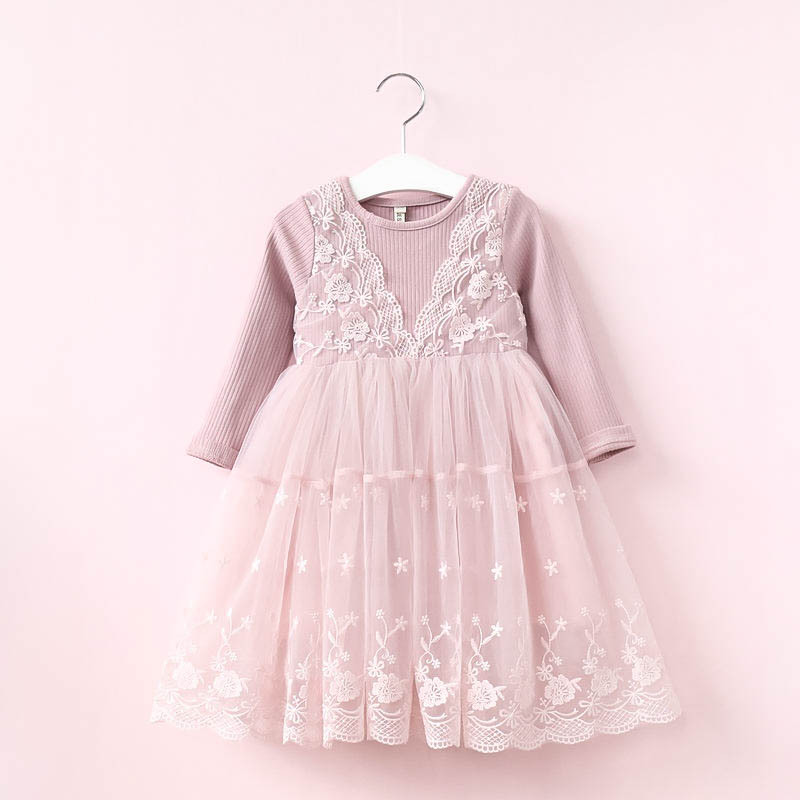 Long Sleeve Girl Lace Dress Girls Princess Tulle Dress Birthday Party Dress for Kids Children Girl Clothing Pink Gray 3-7Y girls europe and the united states children s wear red princess long sleeve princess dress child kids clothing red bow lace