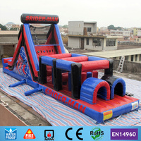 40ft Amazing Spiderman Outdoor Playground Giant Inflatable Obstacle Course for sale with 2 CE Blowers