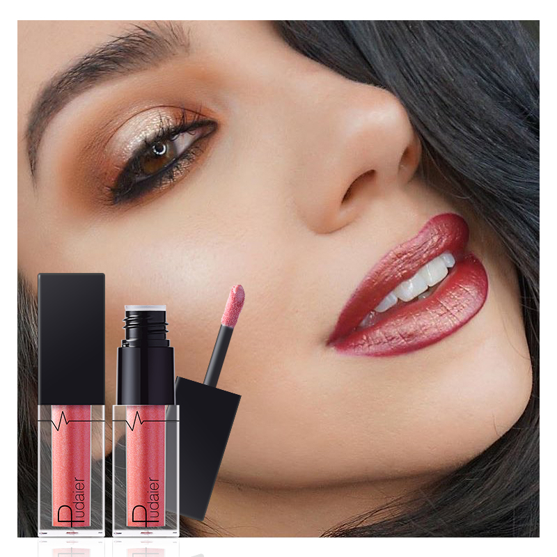 1Pcs Pudaier 24 Colors Metallic Lip Gloss Waterproof Makeup Cosmetics Matte Metal Lock Color Diamond Liquid Lipgloss Eye Shadow in Lip Gloss from Beauty Health