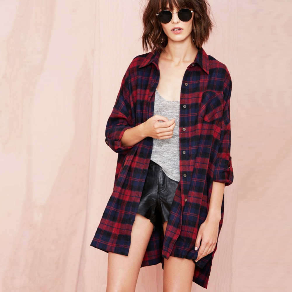4XL 5XL Plus Size Tunics For Women Plaid Shirts Tartan Blouses  Buttons Pocket Long Sleeve Baggy Checkered Shirts Oversized Tops tartan