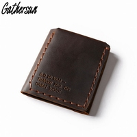 2017 New Color Gathersun Handmade Genuine Leather Wallet Men Purse Top Grain Cowhide Trifold Wallet