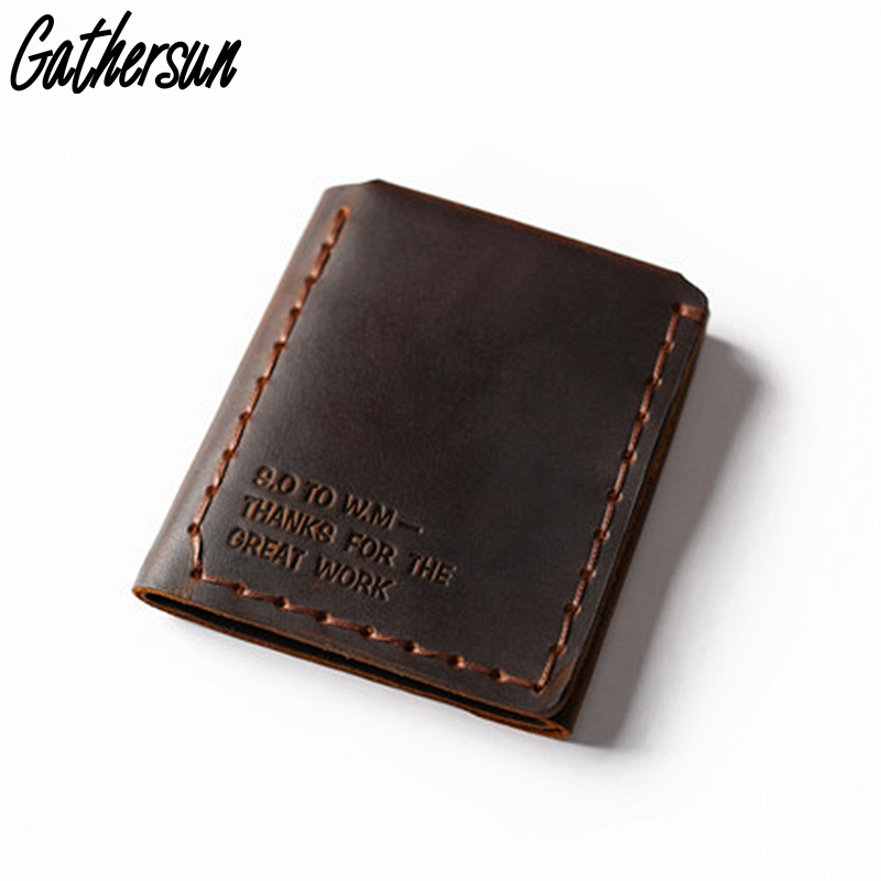 Leather Wallet Men Personalized Handmade Vintage Real Cowhide Leather Short Wallet Men with Card Holder Coin Pocket Male Purse new design 100% leather genuine male wallets slim short men wallet with zipper coin purse pocket soft leather card holder wallet
