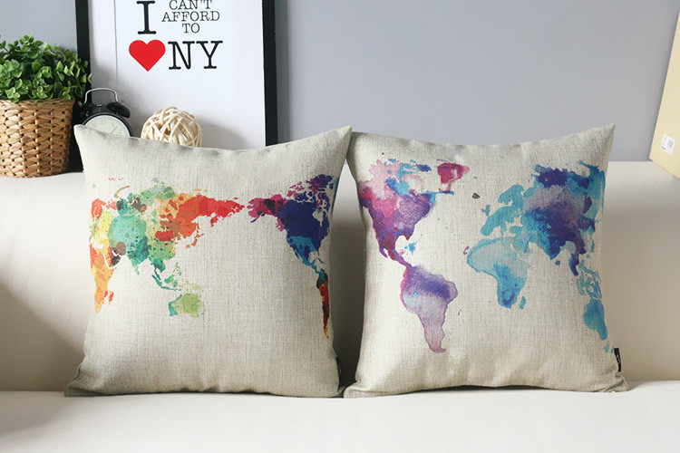 World Map Pillow Cover Watercolor Creative World Map Art Painting