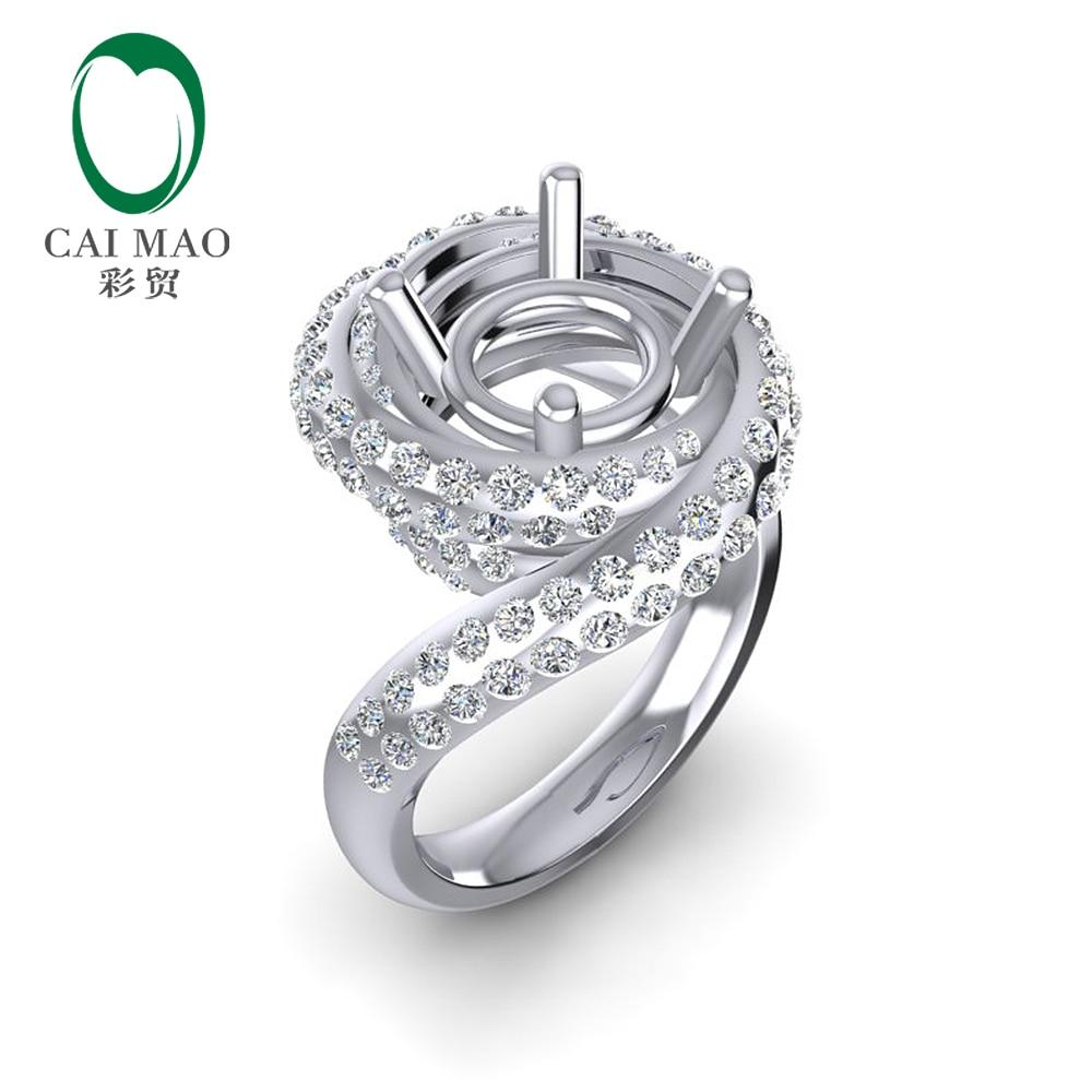 Caimao Nuovo Disegno 8.5 millimetri Rotonda 14k White Gold 1.15ct Naturale Completa Cut Diamond Prong Anello
