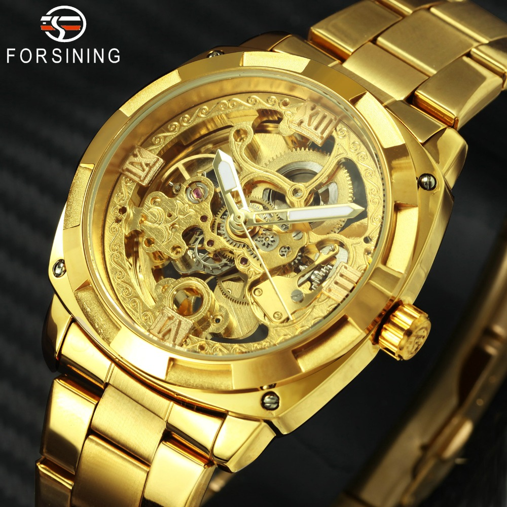 FORSINING Golden Mens Watches Top Brand Luxury Carved Skeleton Dial Stainless Steel Strap Royal Fashion Auto Mechanical WatchFORSINING Golden Mens Watches Top Brand Luxury Carved Skeleton Dial Stainless Steel Strap Royal Fashion Auto Mechanical Watch