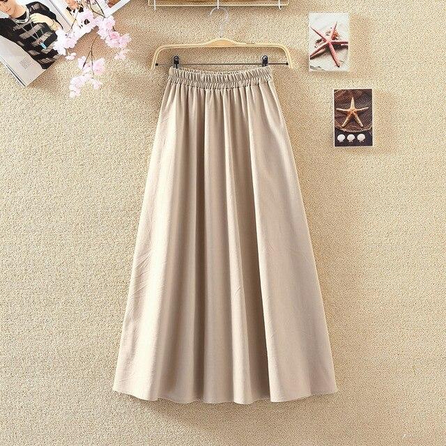 d1ab43e52b 2018 wiosna damskie długie spódnice w stylu Vintage bawełniana i lniana  wysoka talia kobiety spódnice Saia