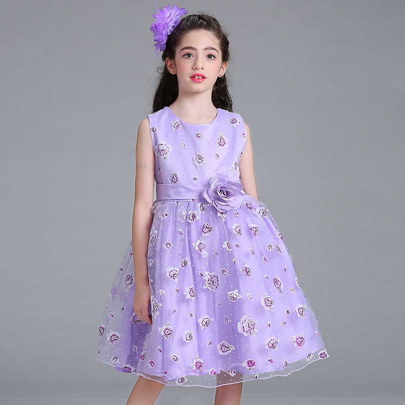 Little High Quality   Flower     Girl     Dresses   With Rose Tulle Princess   Dresses   Organza Elegant Gown Evening   Dress   For Kids   Girl