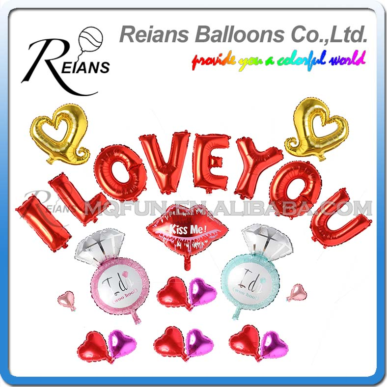 Reians Cartoon Diamond Ring Kiss Me I LOVE YOU Party Heart Decoration Letter Number Helium Air Aluminum Foil Balloons Set