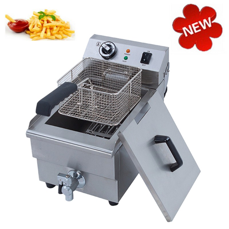 Best Price 10L 3000W Countertop Electric Stainless Steel Commercial Deep Fryer French Fries Single Tank Oil Boiler salter air fryer home high capacity multifunction no smoke chicken wings fries machine intelligent electric fryer