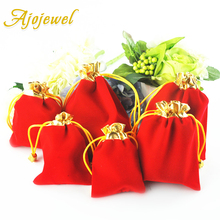 Wholesale 100pcs/Lot 15.2*12.4cm Wedding Gift Packing Bags Candy Red Color Large Velvet Pouch For Jewelry