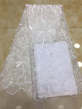 Best Quality African Lace Fabric White Lace fabric High Quality Beautiful French Sequins Mesh Lace Fabric For Wedding X12