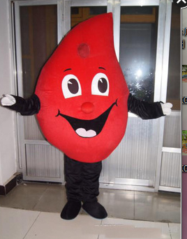 Drop of Blood Mascot Costume Fancy Cosplay Dress Halloween Fantasia Mascot Costume for Public Welfare Activities&Valentine's