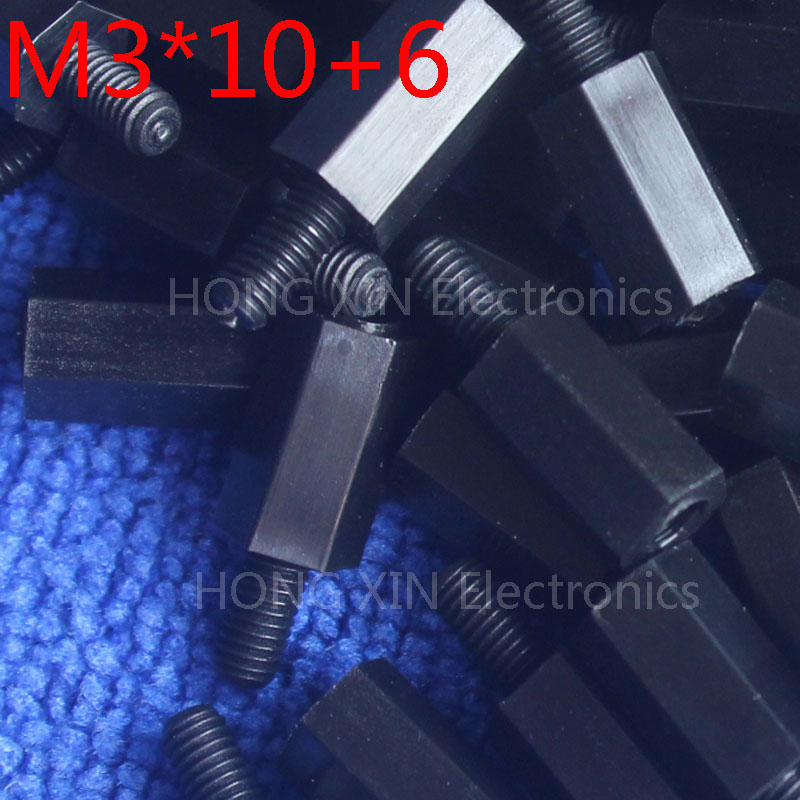 M3*10+6 1pcs Black Nylon Standoff Spacer Standard M3 Male-Female 10mm Standoff Kit Repair Set High Quality pc tool 20pcs m3 copper standoff spacer stud male to female m3 4 6mm hexagonal stud length 4 5 6 7 8 9 10 11 12mm