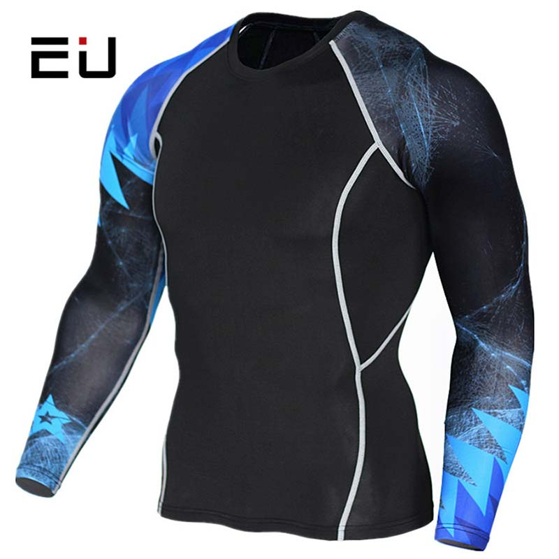 Mens Athletic Workout Set Gym Compression Outfits Long Sleeve T-shirt and Pants
