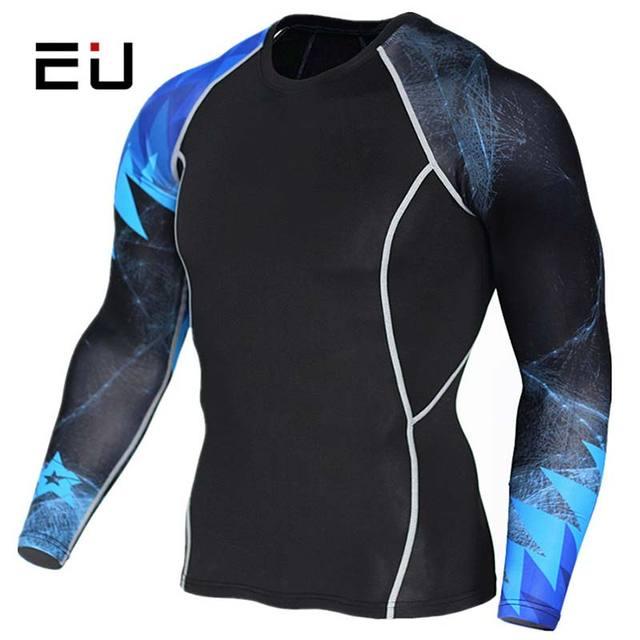38bb51408f5 EU Sport Shirt Men Long Sleeve Quick Dry Fitness Running Compression Shirts  Plus Size 3D Printed Mens Basketball Training Shirts