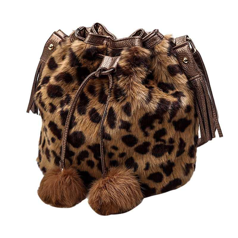 WENYUJH Tassel Fur Ball Fashion Women Shoulder Bag Ladies Crossbody Bag  Leopard Plush Fur Hairy Female f410d3d37e7ef