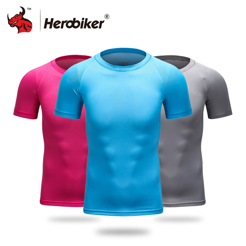 HEROBIKER Motorcycle T-shirt Men Lycra Short Sleeve Athletic Compression Top Base Layer Quick Dry Fitness Gym Running T Shirts