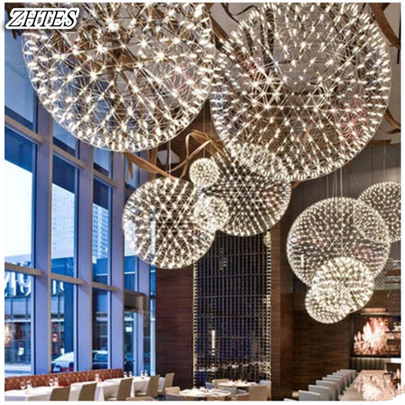 Ceiling Lights & Fans Lovely Post Modern Pendant Light Stainless Steel Hanging Lamp Firework 60cm Chrome Creative Designer Lighting Living Room Hotel Pendant Lights