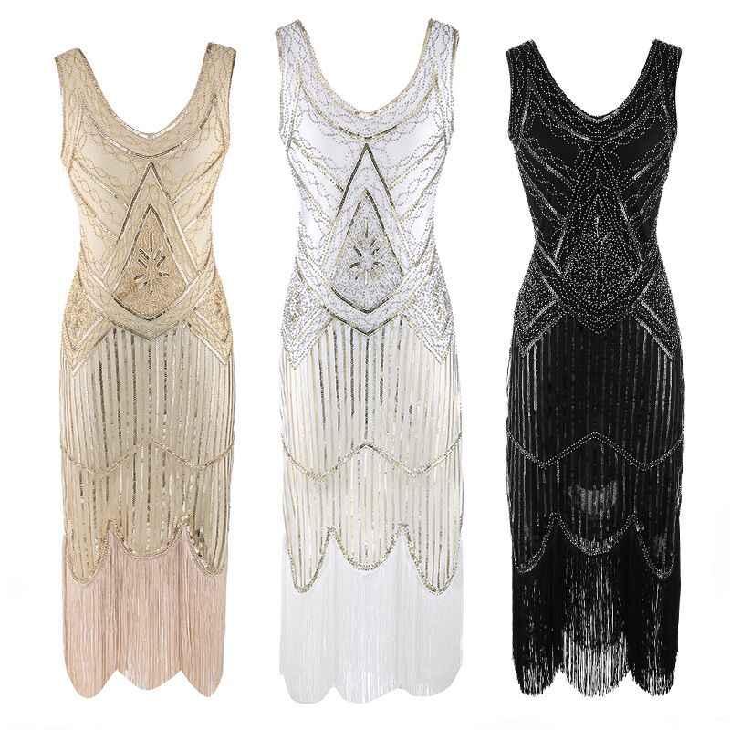 e826247202 Women 1920s Nail bead Sequined Embellished Fringed Great Gatsby Flapper  Dress Cap Sleeve Retro Midi Party Dress Ukraine Vestidos
