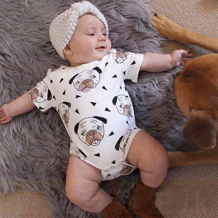 Pug Puppy Dog Print Bodysuit Baby Boys Girls Jumpsuit Baby Clothing Vestidos 2018 Summer Autumn Bobo Choses Tiny Cottons