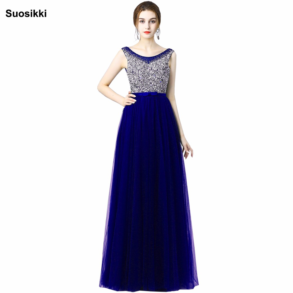 Suosikki Sexy Luxury Long Style   Dresses   Bling Beading Tulle   Evening     Dresses   Prom Party Crystal Pearls A Line vestido de noiva