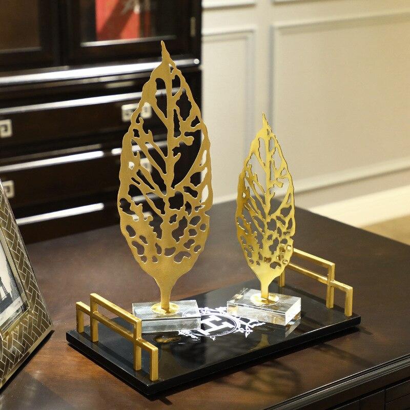 Металлические листья исследование украшения современный минималистский аксессуары для дома гостиная модель комнаты ремесла