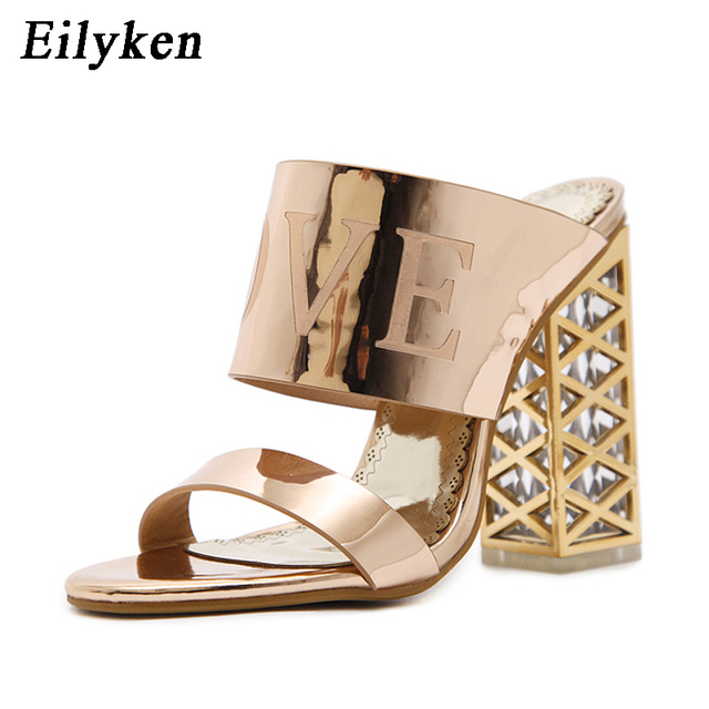 Eilyken Women Sandals Shoes 2019 Summer Gladiator Sandals Women Crystal  Square heel Sandals Party Shoes size 34-40 12911b1b4a5a