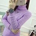 Outono e inverno das mulheres versão Coreana do novo high-cabeça espessamento Magro camisola gola de tricô das mulheres
