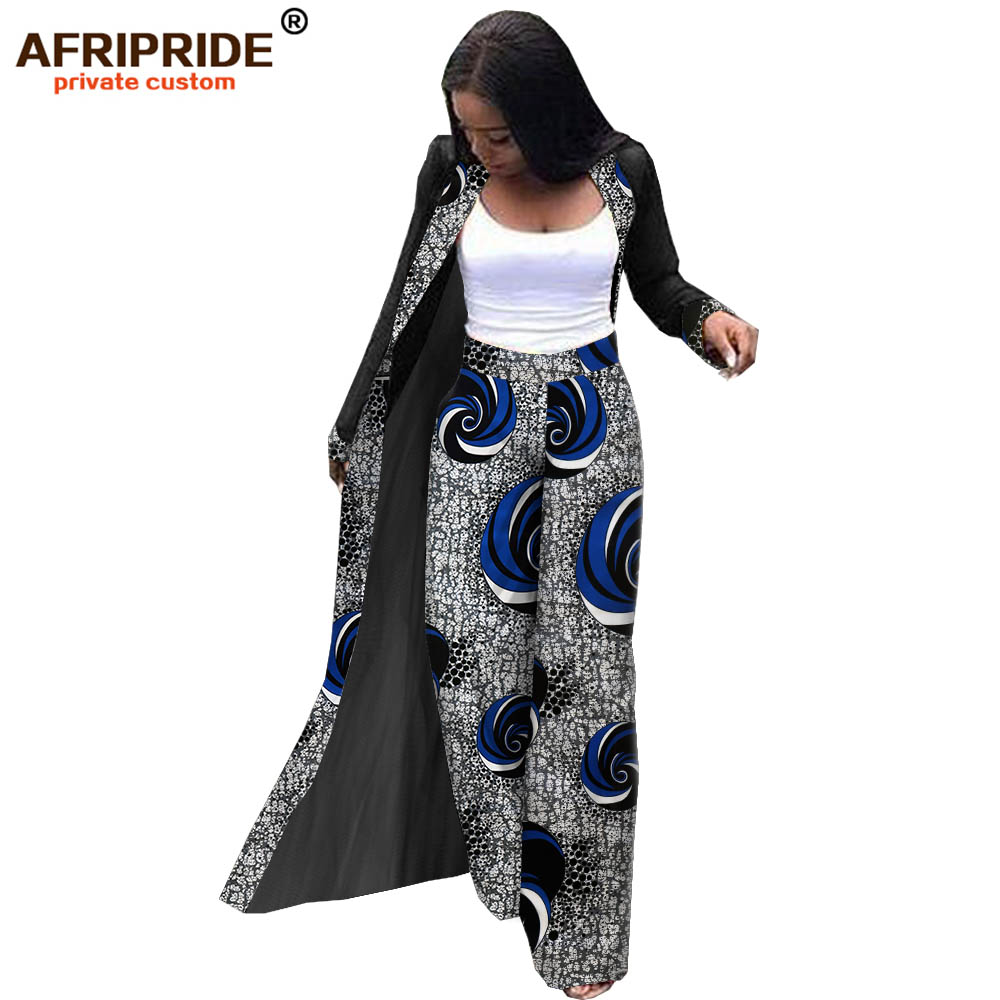 2019 African Two Piece Set Top And Pants For Women AFRIPRIDE Floor Length Chiffon Jacket+full Length Wide-leg Pants  A1926006