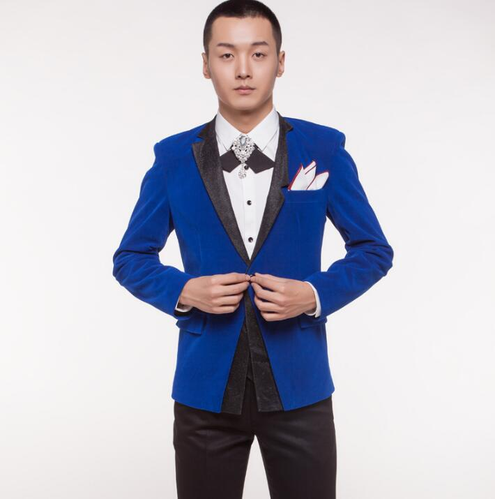 men suits designs masculino homme terno stage costumes for singers men blazer dance clothes jacket formal dress punk rock blue