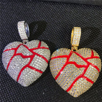 Lucky Sonny Broken Heart Pendant Gold Silver Color Fractured Hearts Necklace Cubic Zircon Iced Out Hip Hop Jewelry Accessory