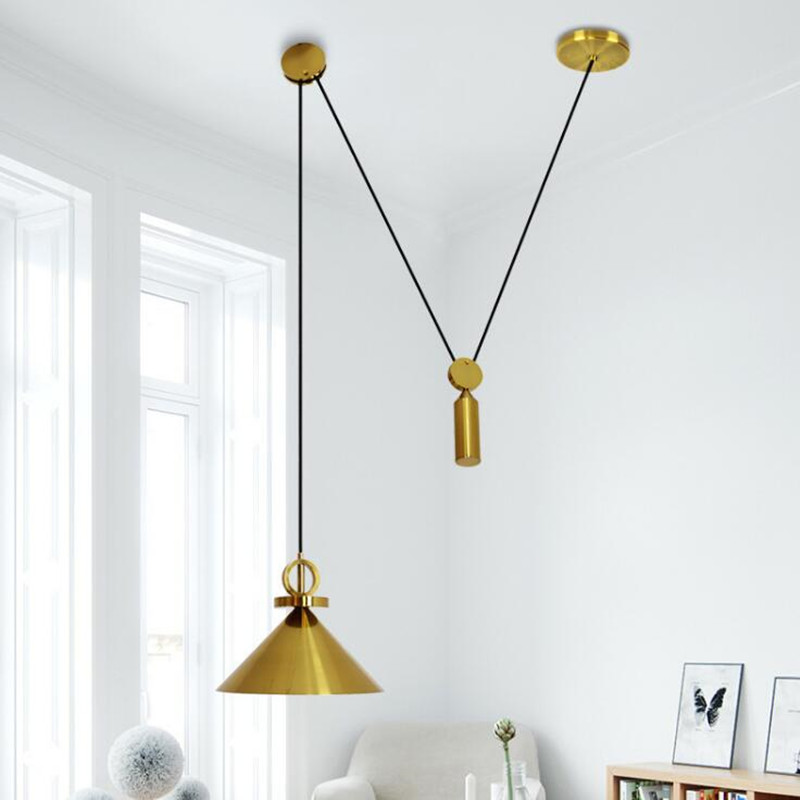 Lamp Loft American Personality Simple Study Bedroom Lifting Pulley Chandelier Post Modernism Restaurant Decorate LED Lights modernism