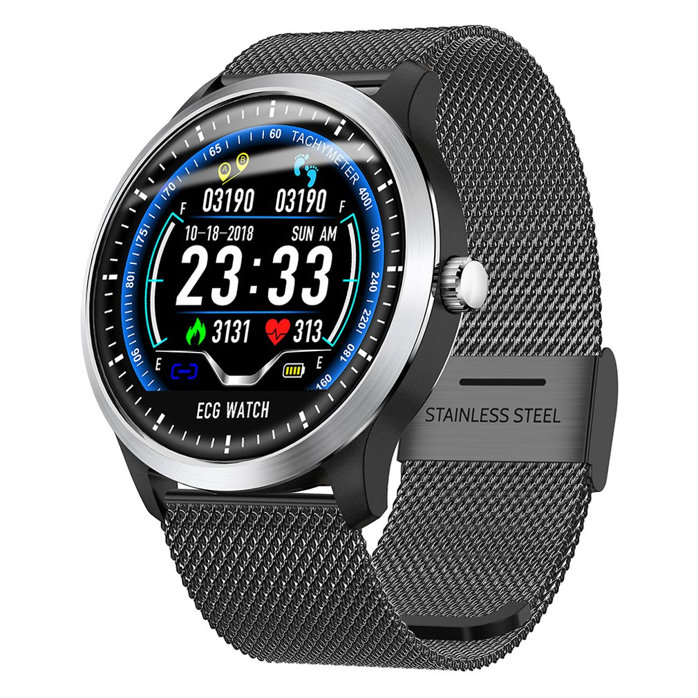 N58 ECG PPG Smart Watch With Electrocardiograph Ecg Display Heart Rate Monitor Blood Pressure Mesh Steel Smartwatch