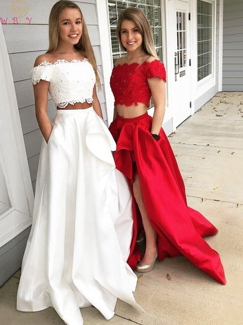 Two Pieces Red/Ivory Off The Shoulder Boat Neck Prom Dresses 2019 Evening Gown Sexy Split Ruffles Formal Party Vestidos De Gala